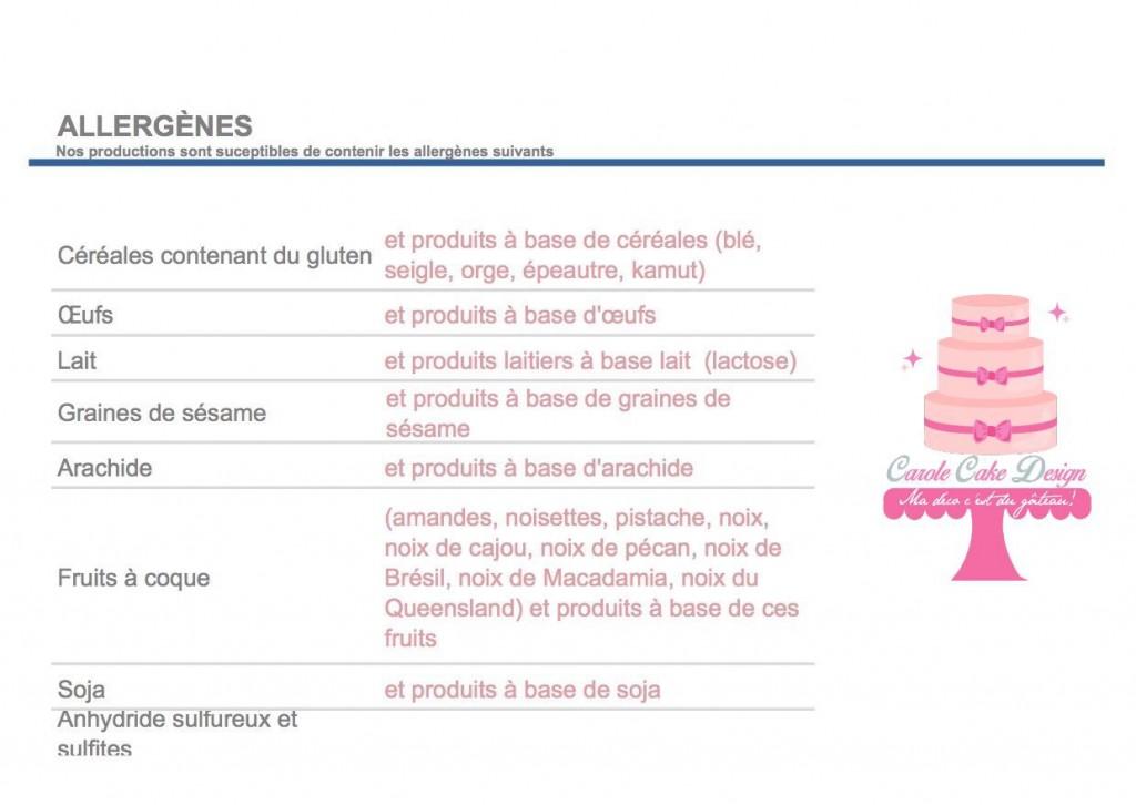 allergènes Carole cake design